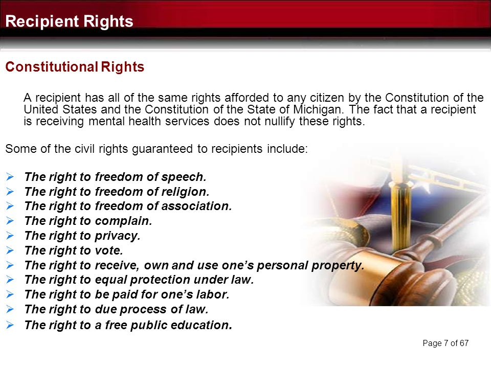 Recipient Rights Constitutional Rights