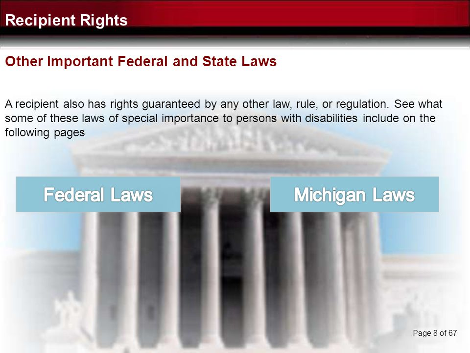 Federal Laws Michigan Laws Recipient Rights