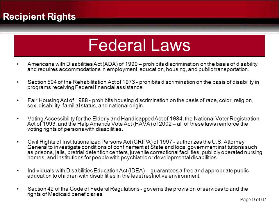 Federal Laws Recipient Rights