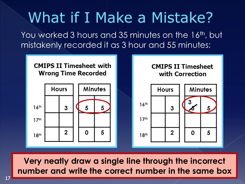 CMIPS II Timesheet with Wrong Time Recorded
