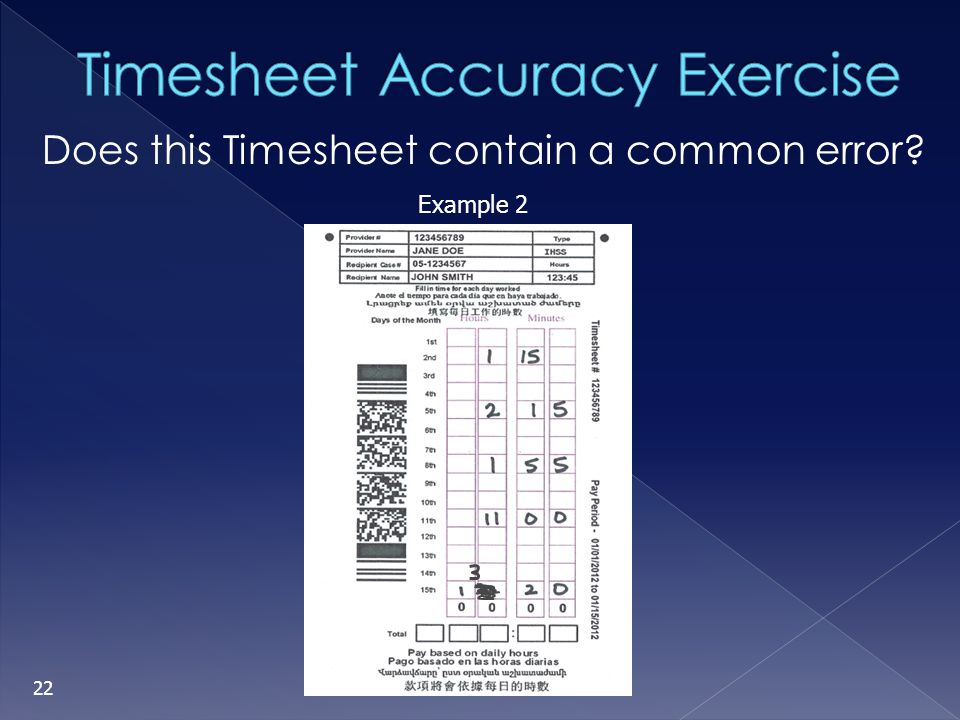 Timesheet Accuracy Exercise