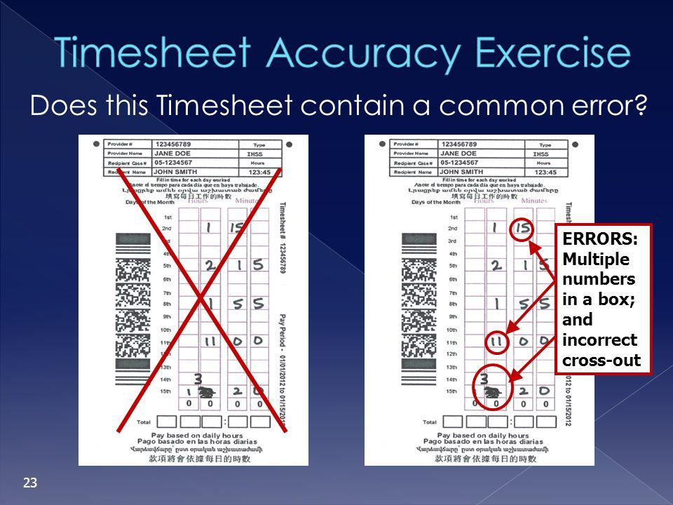 Timesheet Accuracy Exercise