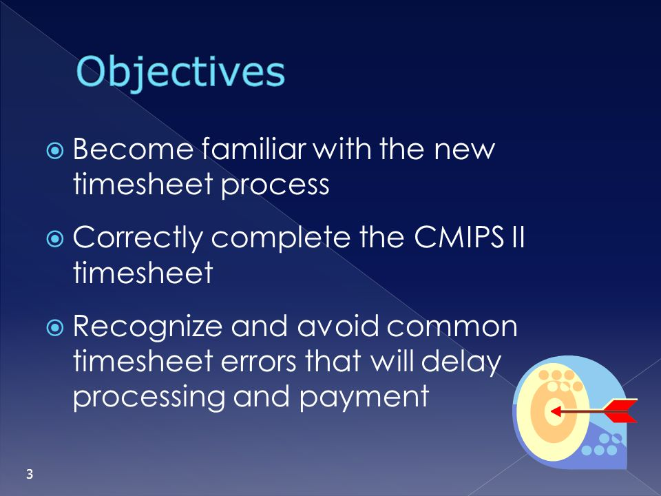Objectives Become familiar with the new timesheet process