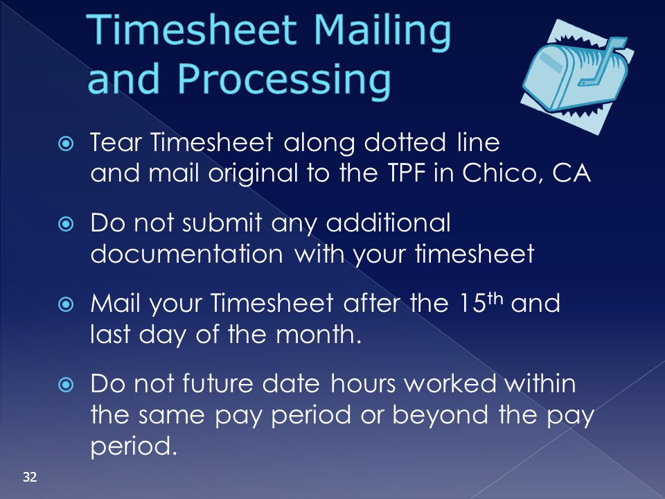 Timesheet Mailing and Processing