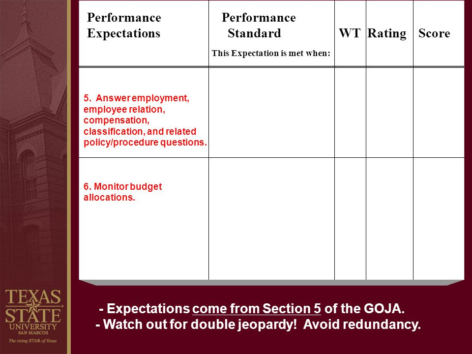 Performance Performance Expectations Standard WT Rating Score
