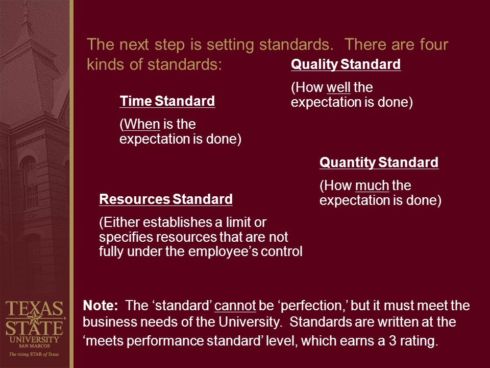 The next step is setting standards. There are four kinds of standards: