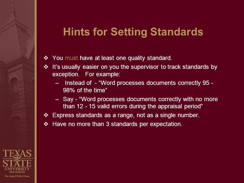 Hints for Setting Standards