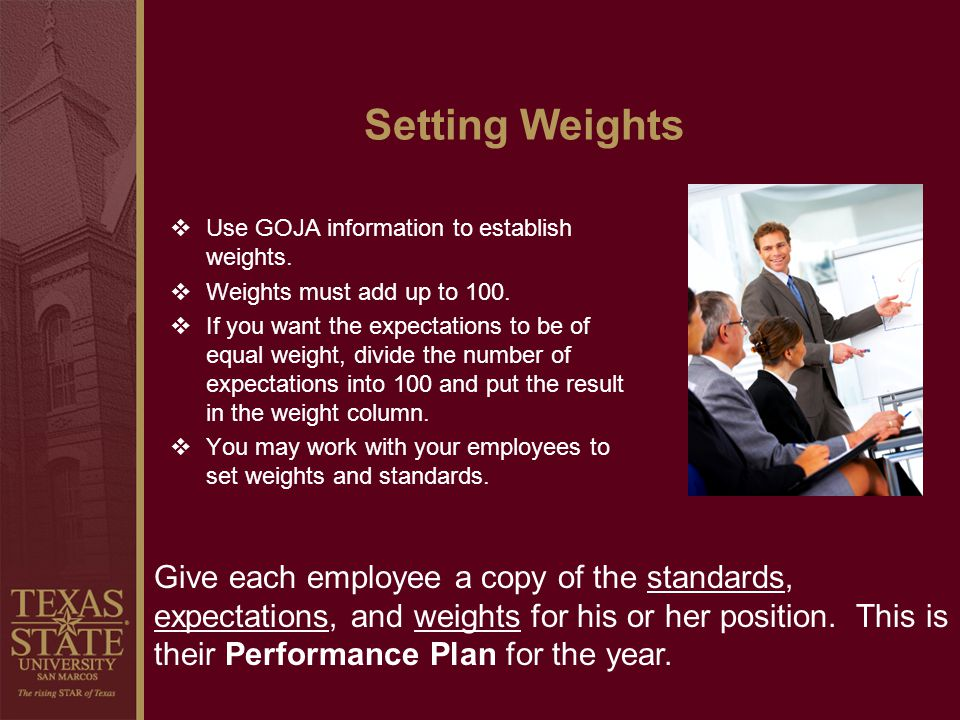 Setting Weights Use GOJA information to establish weights. Weights must add up to 100.