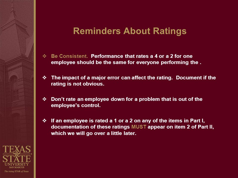 Reminders About Ratings