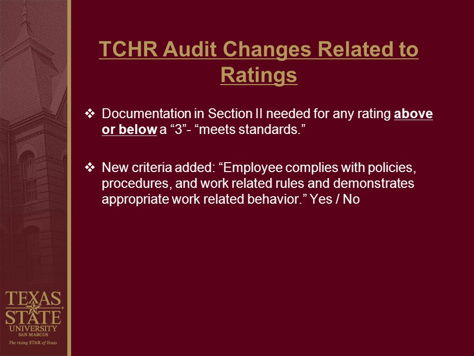 TCHR Audit Changes Related to Ratings