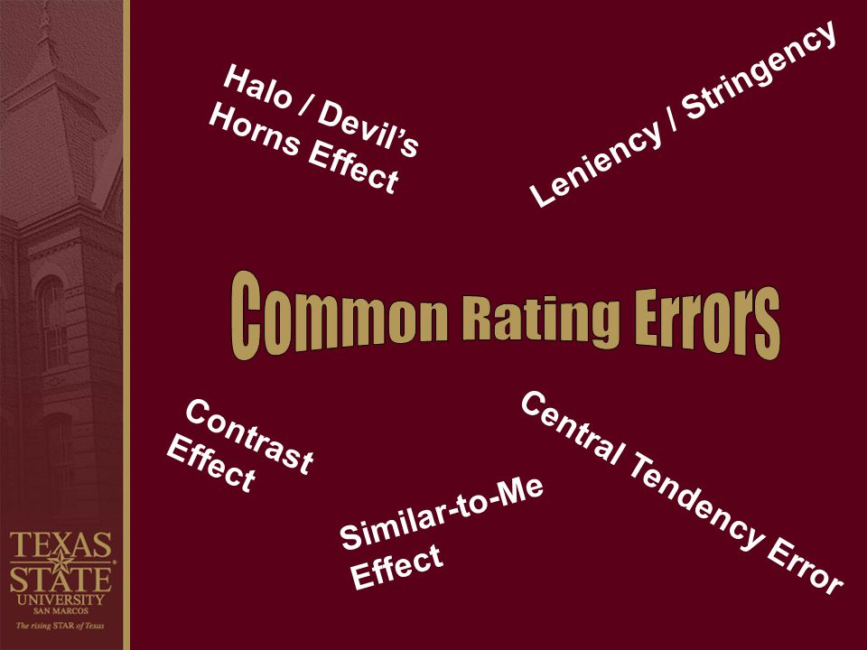 Common Rating Errors Leniency / Stringency Halo / Devil's Horns Effect
