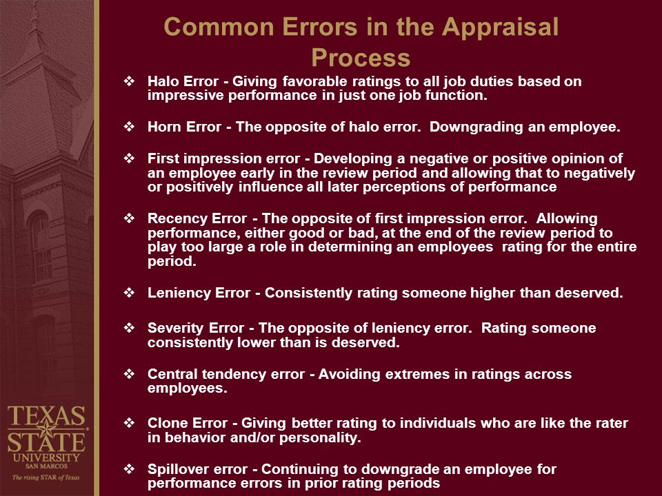 Common Errors in the Appraisal Process