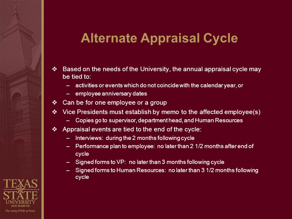 Alternate Appraisal Cycle