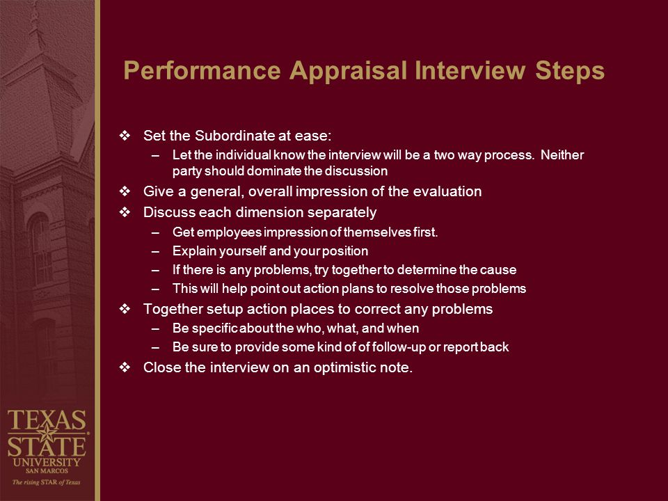 Performance Appraisal Interview Steps