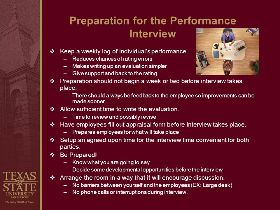Preparation for the Performance Interview