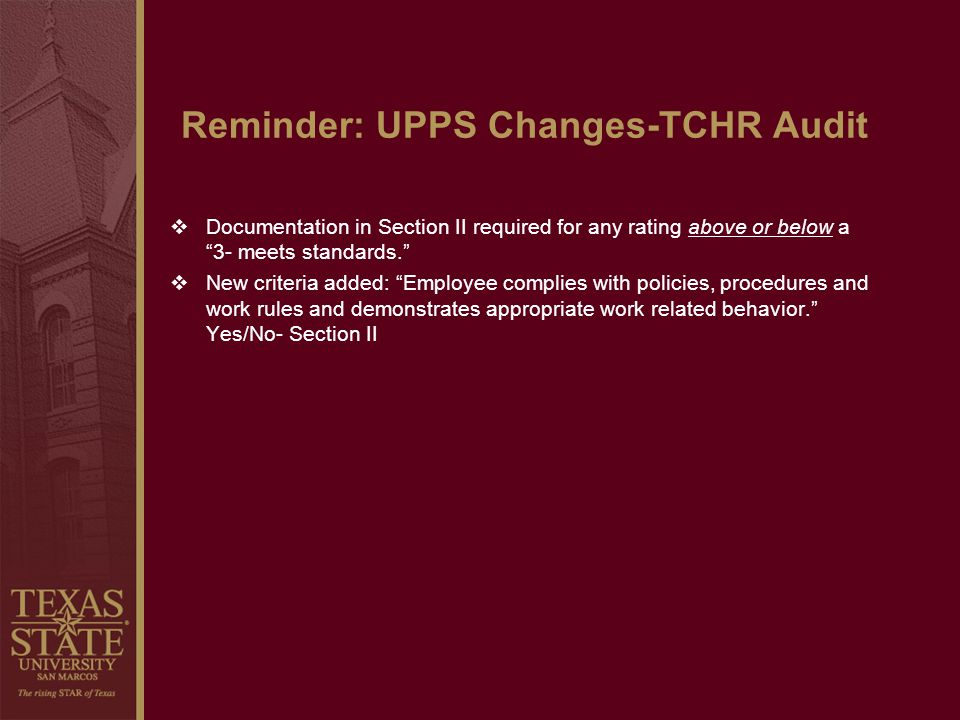 Reminder: UPPS Changes-TCHR Audit