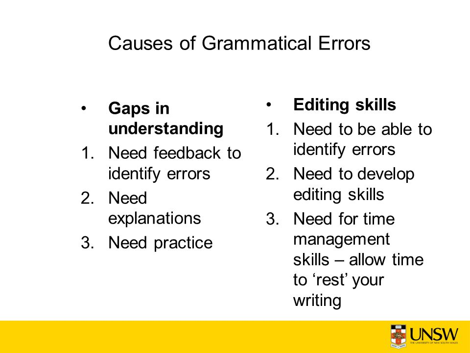 Causes of Grammatical Errors