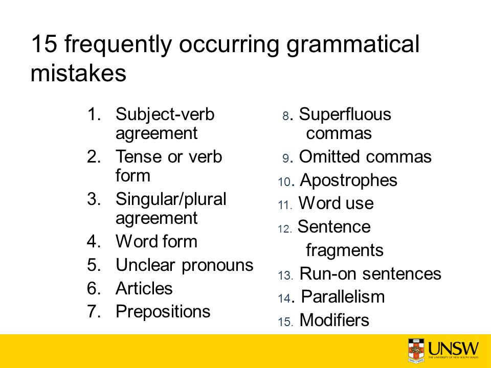15 frequently occurring grammatical mistakes