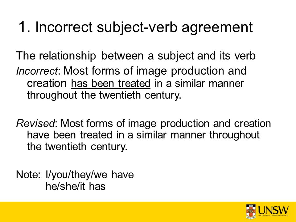 1. Incorrect subject-verb agreement