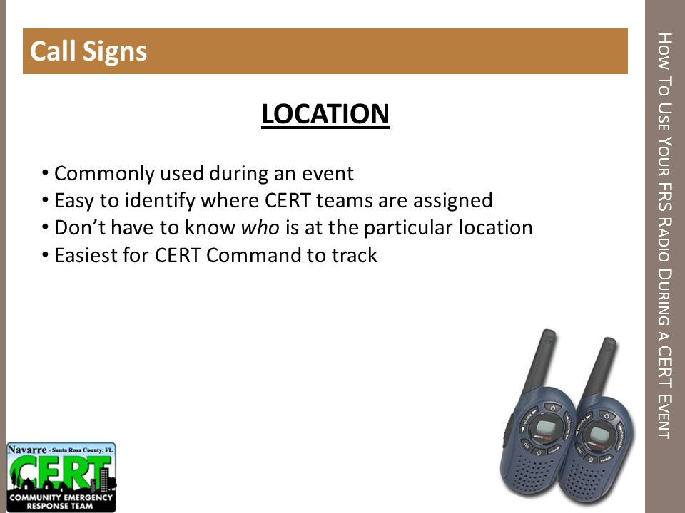 How To Use Your FRS Radio During a CERT Event