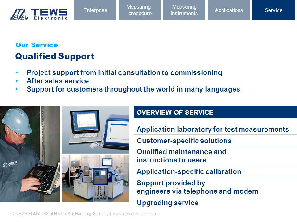 Enterprise Measuring. procedure. Measuring. instruments. Applications. Service. Our Service. Qualified Support.