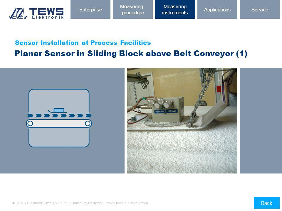 Planar Sensor in Sliding Block above Belt Conveyor (1)