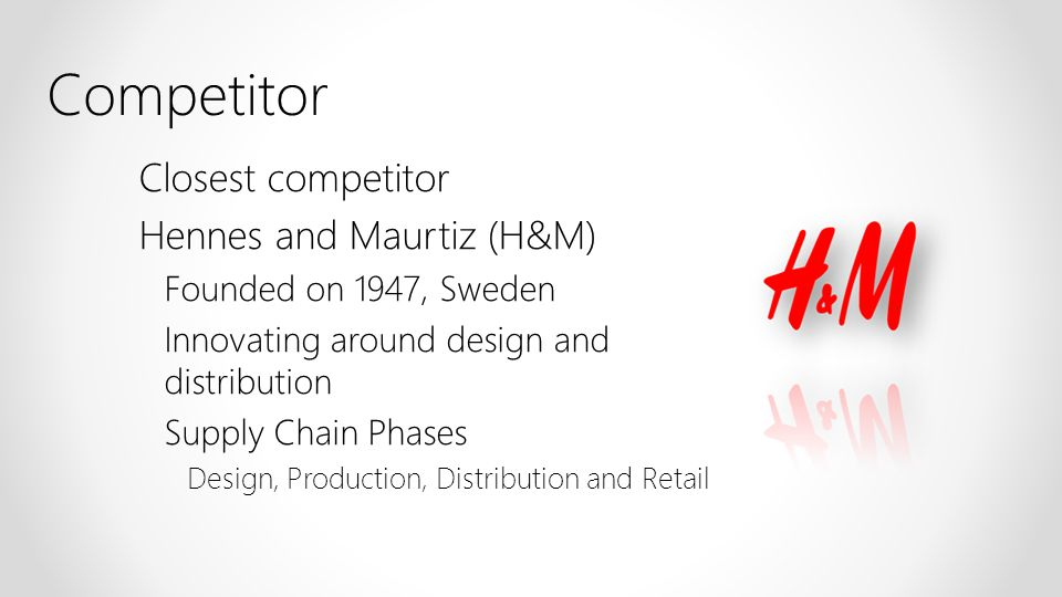 Competitor Closest competitor Hennes and Maurtiz (H&M)