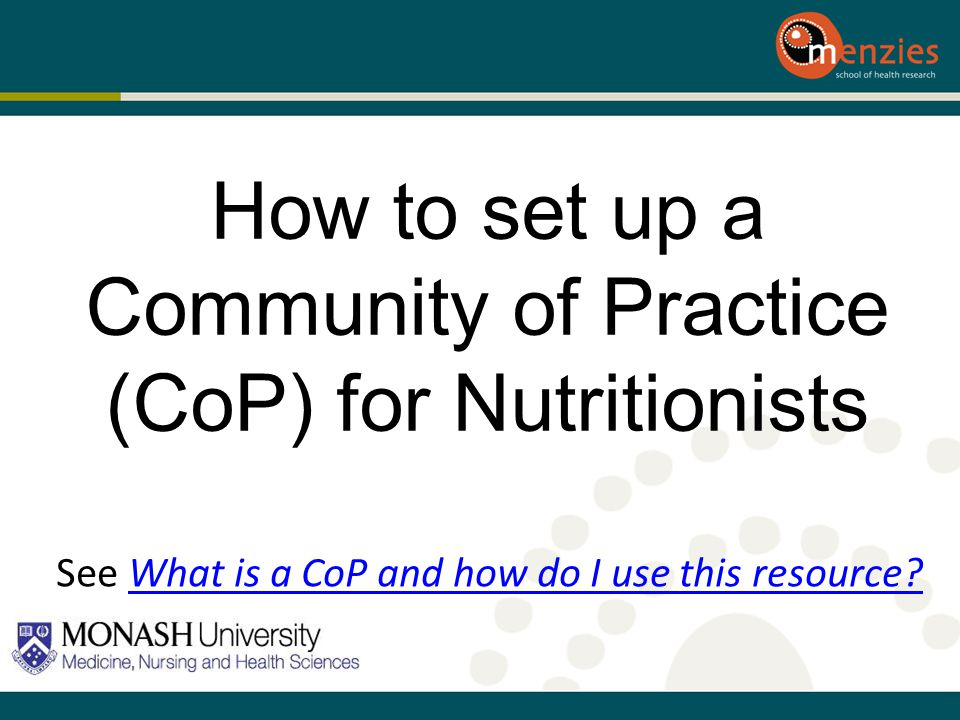 How to set up a Community of Practice (CoP) for Nutritionists