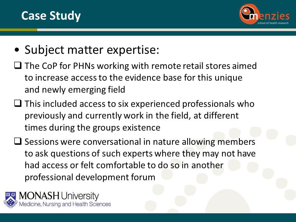 Subject matter expertise: