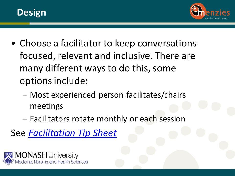 See Facilitation Tip Sheet
