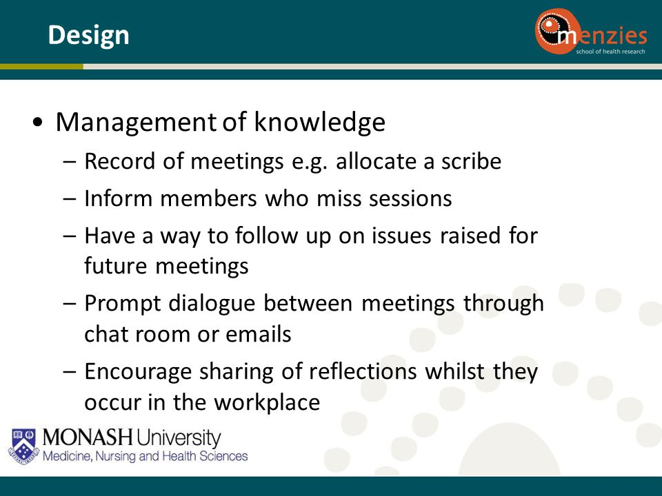 Management of knowledge