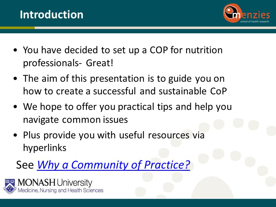 See Why a Community of Practice