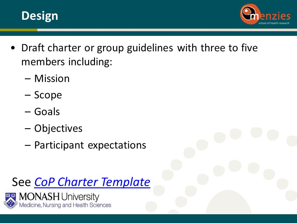 See CoP Charter Template