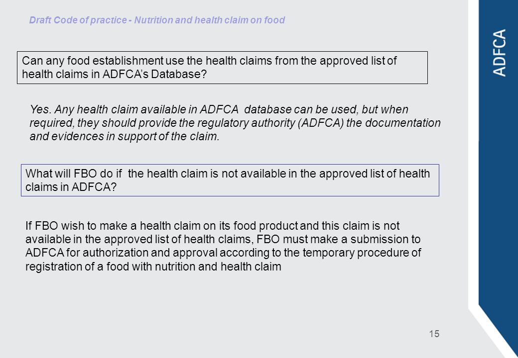 Draft Code of practice - Nutrition and health claim on food