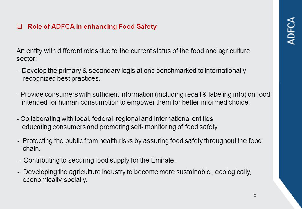 Role of ADFCA in enhancing Food Safety