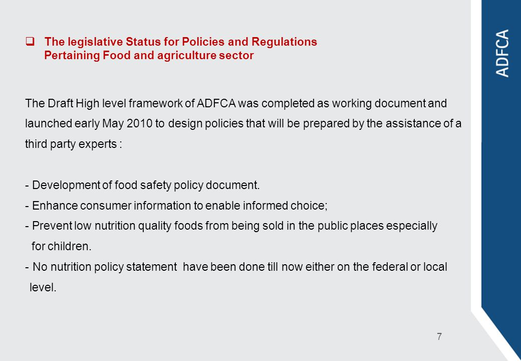 The legislative Status for Policies and Regulations Pertaining Food and agriculture sector
