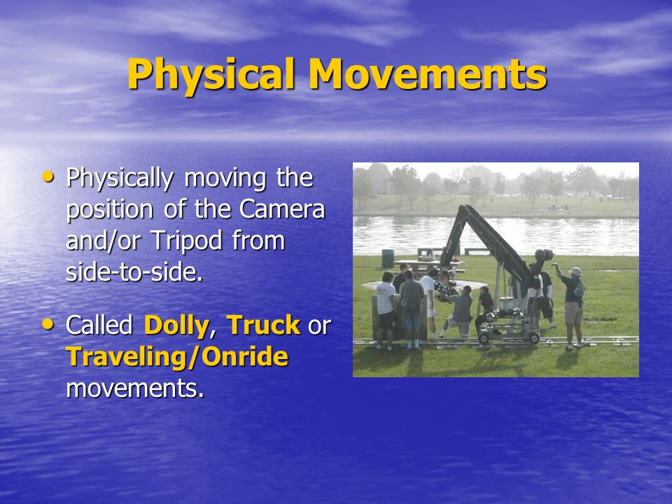 Physical Movements Physically moving the position of the Camera and/or Tripod from side-to-side.