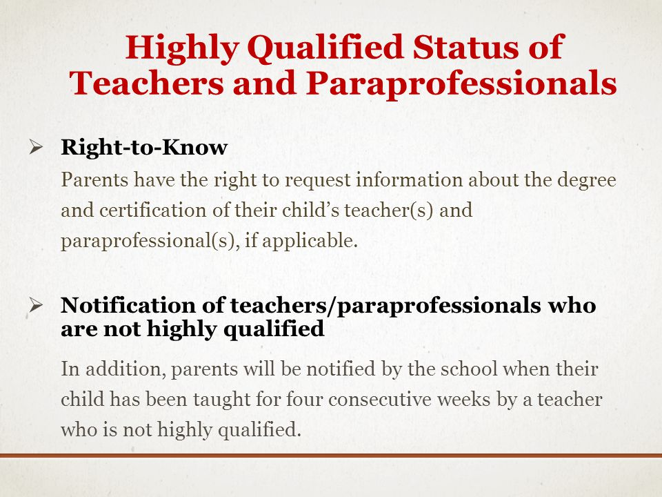 Highly Qualified Status of Teachers and Paraprofessionals