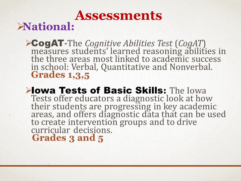 Assessments National: