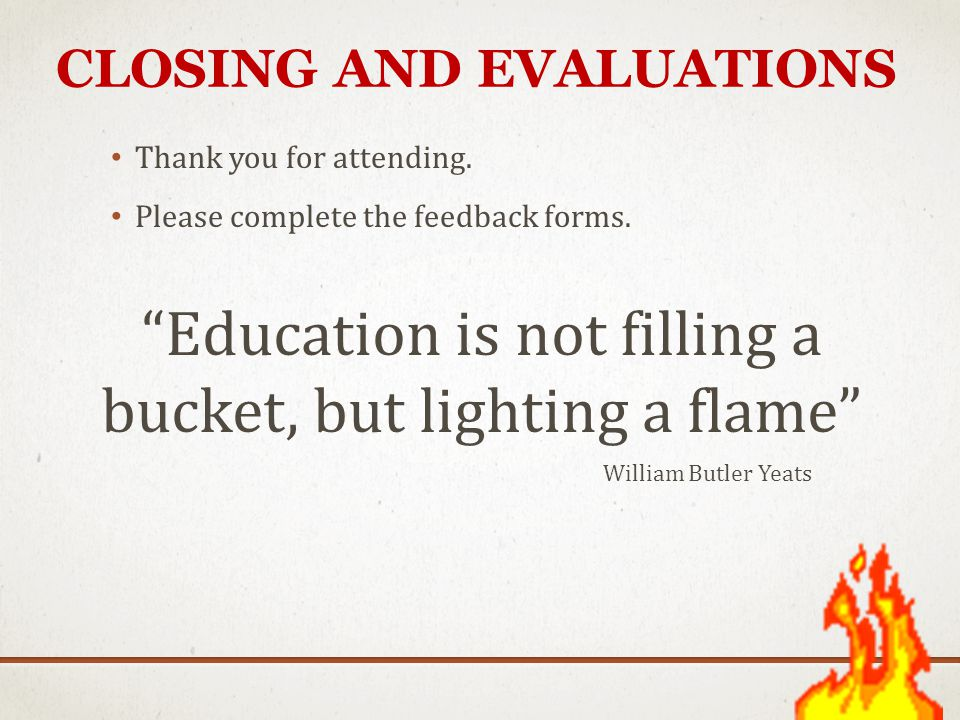 Closing and Evaluations