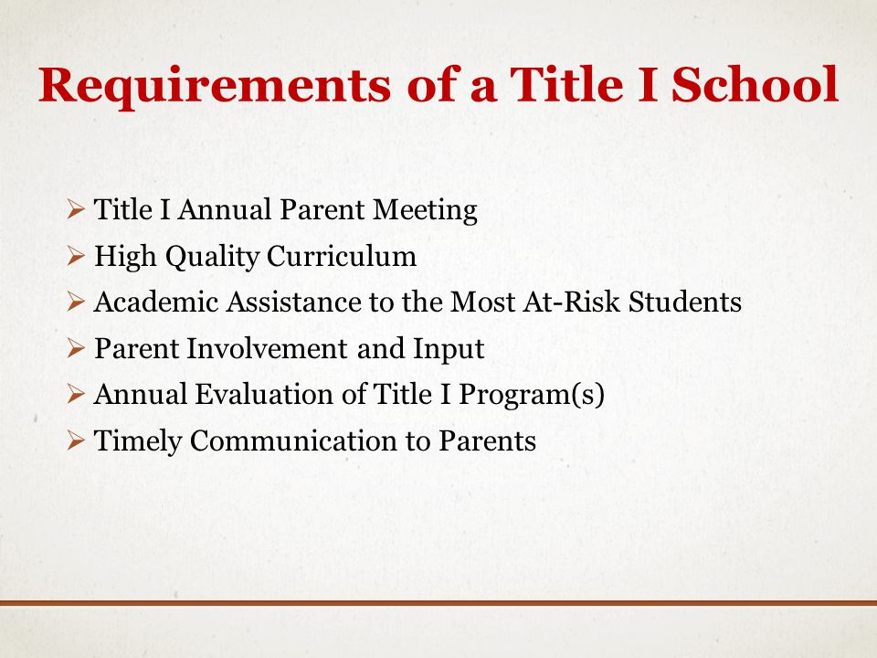 Requirements of a Title I School