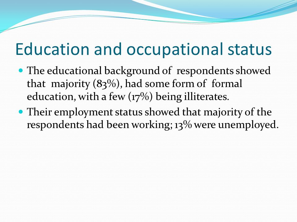 Education and occupational status