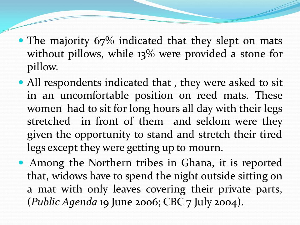 The majority 67% indicated that they slept on mats without pillows, while 13% were provided a stone for pillow.
