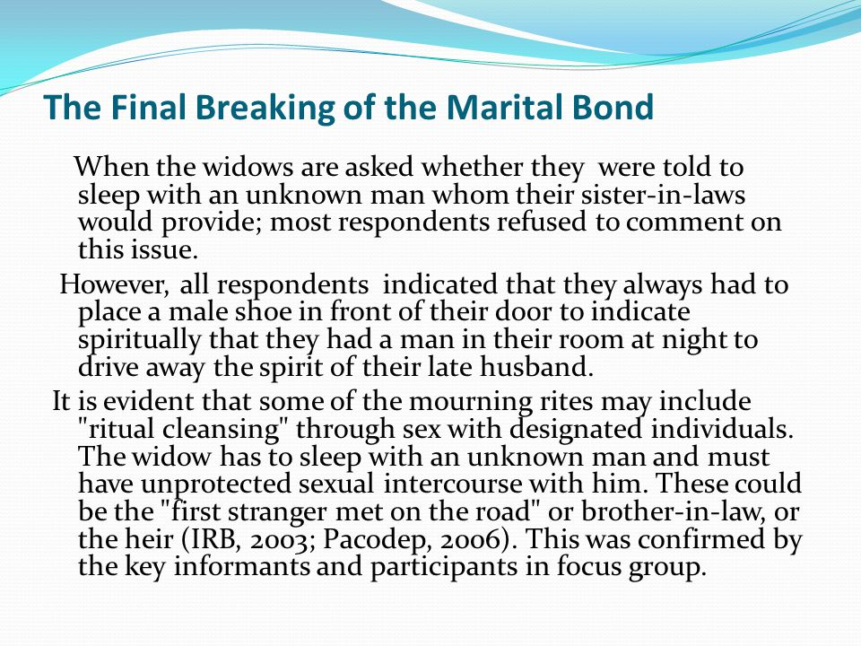 The Final Breaking of the Marital Bond