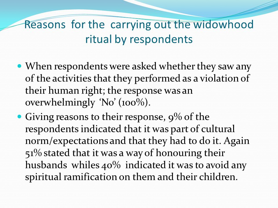 Reasons for the carrying out the widowhood ritual by respondents