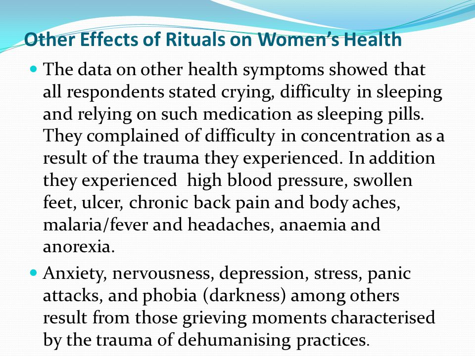 Other Effects of Rituals on Women's Health