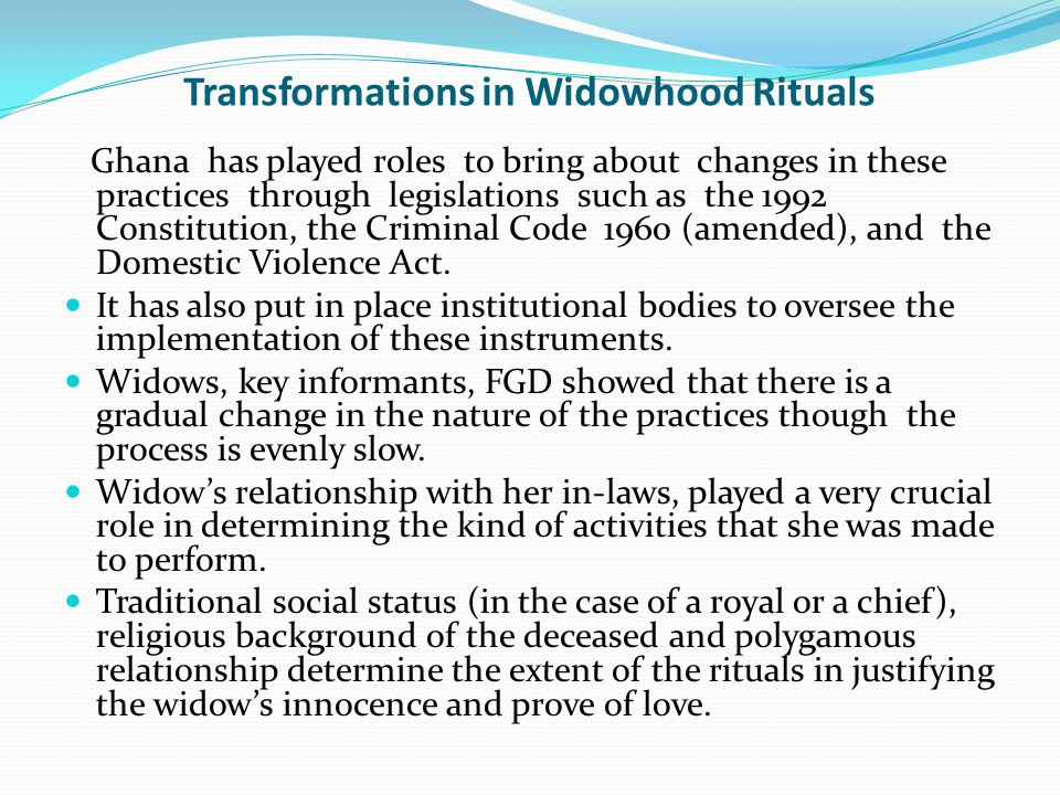Transformations in Widowhood Rituals