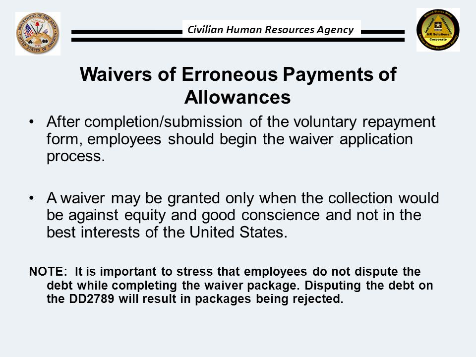 Waivers of Erroneous Payments of Allowances