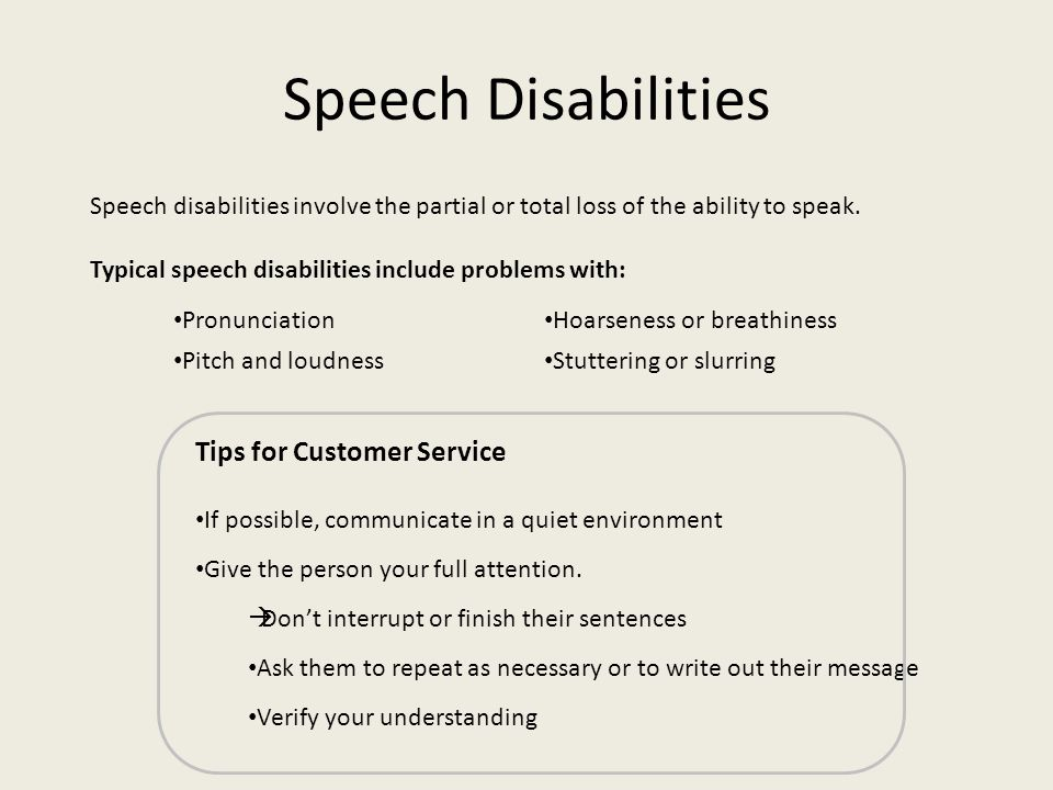 Speech Disabilities Tips for Customer Service