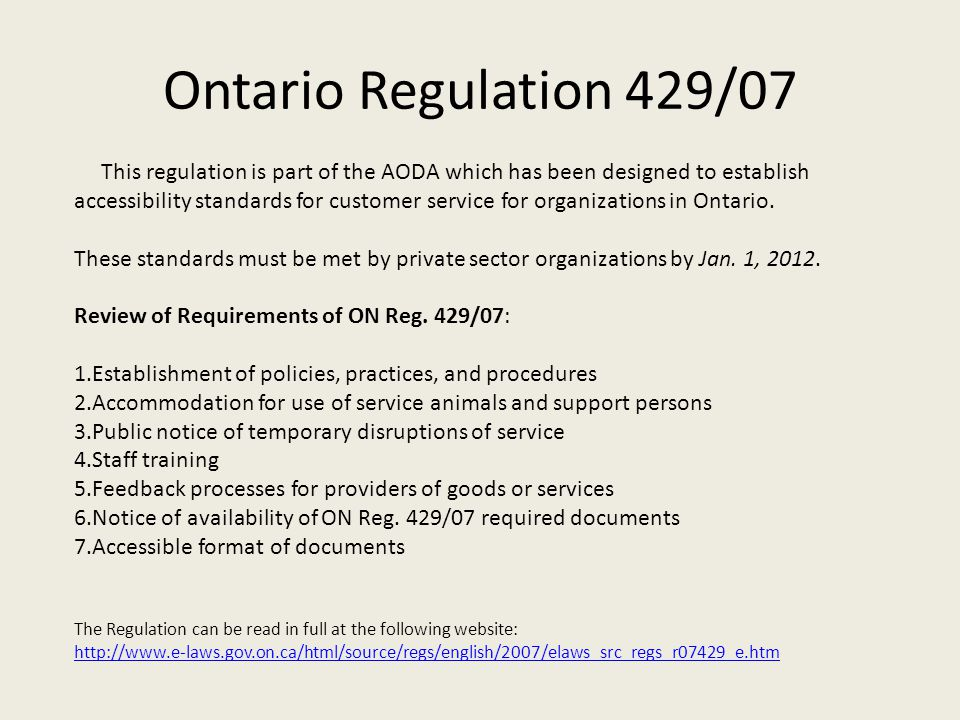 Ontario Regulation 429/07
